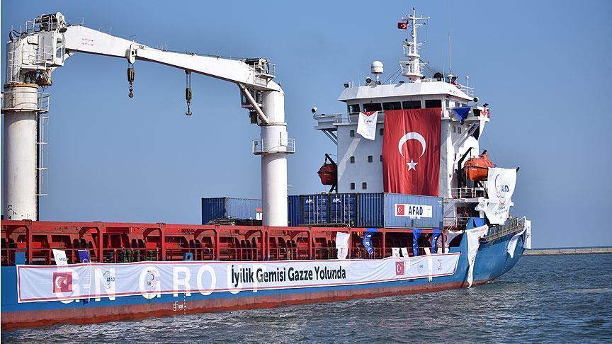 انطلاق سفينة مساعدات تركية إلى غزة متوجه إلى ميناء أشدود الإسرائيلي