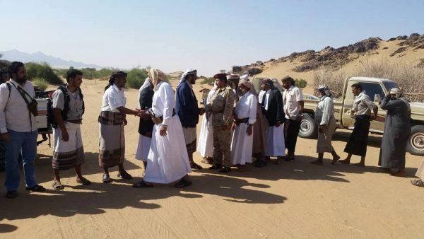 محافظ البيضاء والقيادي بمقاومة الجوف الباشا يزورون جبهة بيحان بشبوة