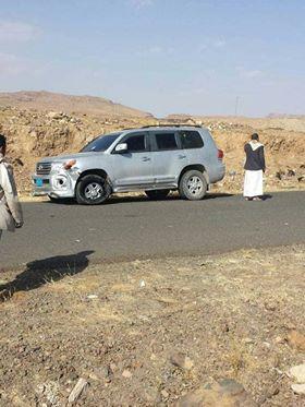صورة متداولة للسيارة المصفحة التي كان بداخلها الرئيس السابق علي عبدالله صالح والتي تعرضت للكمين جنوب العاصمة صنعاء