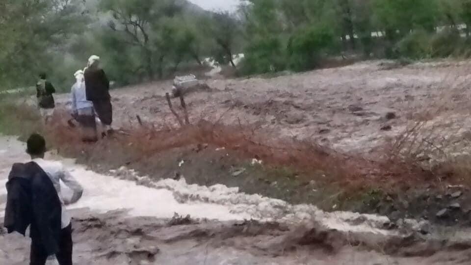 السيول في وادي مناح بالعدين تجرف سيارة مواطن/ ناشطون