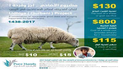 منظمة الأيادي النقية تدشن مشروع الأضاحي للأسر المحتاجه في اليمن