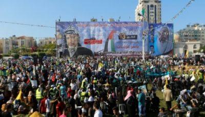 حركة فتح تحيي ذكرى رحيل ياسر عرفات لاول مرة في غزة منذ عشر سنوات