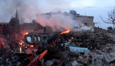 روسيا تطلب المساعدة من تركيا لاستعادة حطام طائرتها في إدلب