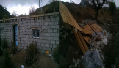 إب: قيادات حوثية تهدم منزلين لمواطنين في مديريتي جبلة ومذيخرة