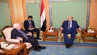الرئيس هادي يجدد تأكيد موقف الشرعية الثابت نحو السلام المرتكز على المرجعيات الثلاث