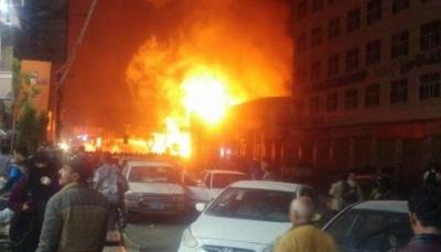 """حريق هائل يلتهم محطة وقود بـ""""صنعاء"""" بالقرب من منزل علي عبدالله صالح (صورة)"""