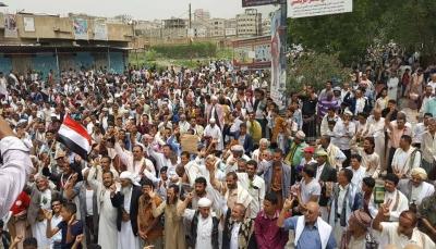 محتجون بتعز يطالبون بسرعة ضبط الملف الأمني ومحاسبة المتورطين في الاختلالات