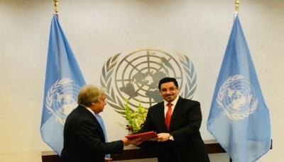 غوتيريز يتسلم أوراق اعتماد السفير بن مبارك مندوباً دائماً لليمن لدى الأمم المتحدة