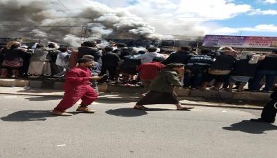 """وسط أزمة خانقة.. انفجار اسطوانات غاز واندلاع حريق هائل في """"صنعاء"""""""