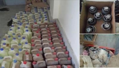 """شرطة تعز تعلن مداهمة معمل لصناعة المتفجرات في منطقة """"سوق الصميل"""""""
