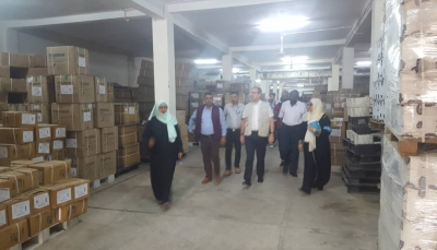 وزارة الصحة تتسلم مستلزمات طبية من مركز الملك سلمان مخصصة لتعز