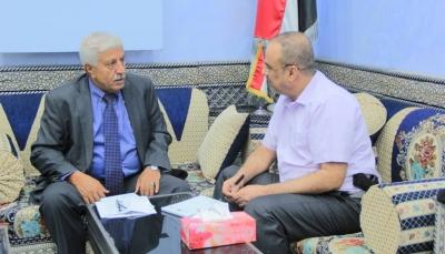 """""""الميسري"""" يناقش مع """"باعوم"""" أوضاع القطاع الصحي في عدن والمحافظات المحررة"""
