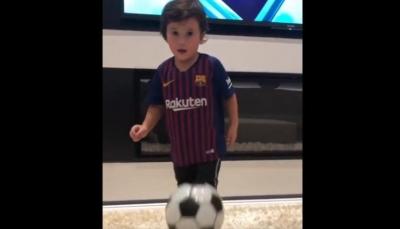 نجل ميسي على خُطى والده في تسديد الأهداف (فيديو)
