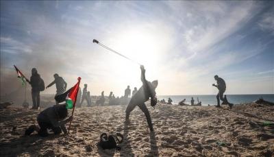 مسيرة بحرية بـ 20 قارباً شمالي غزة للمطالبة برفع حصار الاحتلال الإسرائيلي