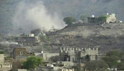 مقتل واصابة 4 من عائلة واحدة بقصف حوثي على قُرى شمال الضالع