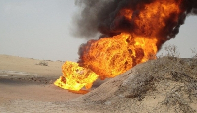 """شبوة: مجهولون يفجرون أنبوب النفط الخام في مديرية """"رضوم"""""""