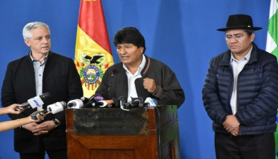 بعد 21 يوم من الاحتجاجات.. الرئيس البوليفي يعلن استقالته بخطاب تلفزيوني