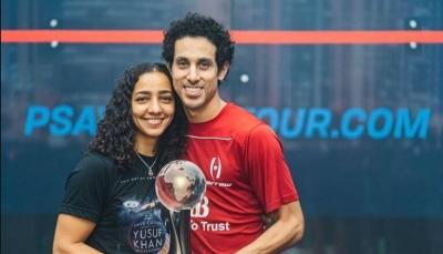 """لأول مرة بالتأريخ.. مصري وزوجته يحصدان بطولة """"الإسكواش"""" العالمية"""