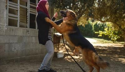 """في غزة المحاصرة..أيادٍ ناعمة تروّض """"شراسة"""" الكلاب"""