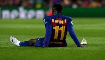 """الاصابة تبعد """"ديمبيلي"""" عن تشيكيلة برشلونة 10 أسابيع"""