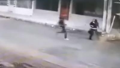 كلبان يحميان امرأة من سطو مسلح (فيديو)