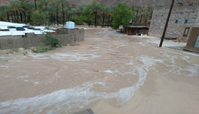 """سلطة حضرموت تعلن مدينتي """"حجر وميفع"""" مناطق منكوبة جراء السيول"""