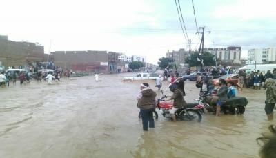 السيول تغرق شوارع في العاصمة صنعاء وتتسبب بأضرار مادية (فيديو)