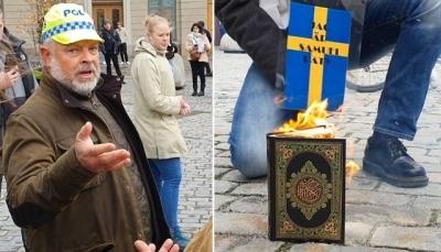 """متطرفون يحرقون نسخة من """"القرآن الكريم"""" أمام مبنى الحكومة السويدية"""