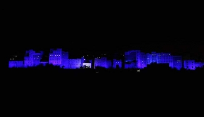 مناصرة للطفولة.. اليونيسيف تزين ثلاثة معالم يمنية تاريخية بالألوان الزرقاء