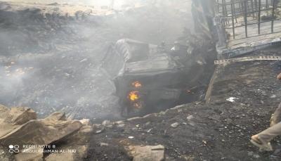 تعز.. حريق في مخازن للمشتقات النفطية يخلف أضرار مادية كبيرة