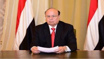 """""""البلاد تمر بتحديات ومؤامرات"""".. """"هادي"""" يدعو إلى رص الصفوف لاستكمال المعركة الوطنية"""