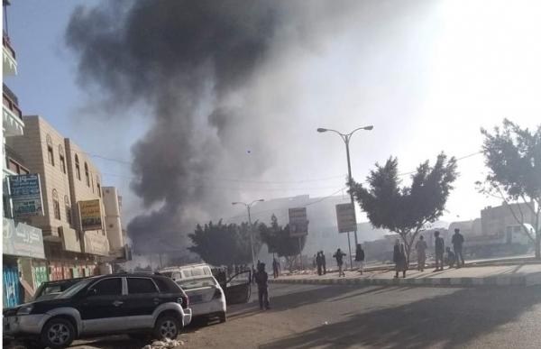 البيضاء.. اندلاع حريق هائل في محطة للوقود بمدينة رداع