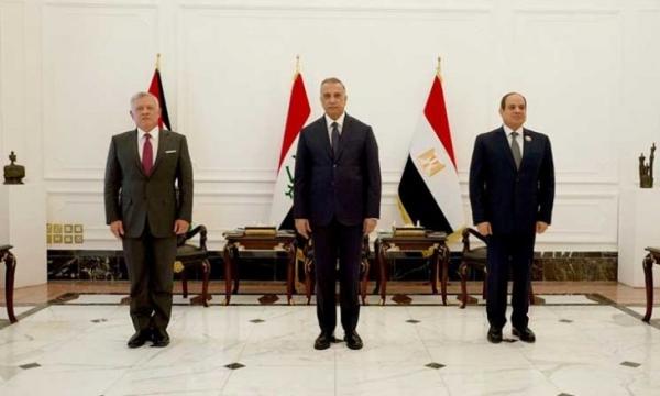 """بقمة ثلاثية ببغداد.. توافق عراقي مصري أردني بشأن فلسطين ومكافحة الإرهاب وسد """"النهضة"""""""