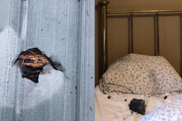 إمرأة تنجو من موت محقق بعد سقوط نيزك على وسادتها أثناء نومها