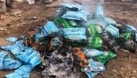 تعز: الشرطة العسكرية تتلف كمية من المواد المخدرة