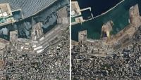 """شاهد صور جوية """"صادمة"""" لمنطقة انفجار بيروت قبل وبعد التفجير"""