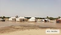 """مأرب: سيول فيضان السد تتدفق نحو """"البطحا وحشان"""" ودعوات استغاثة من النازحين"""