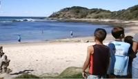 إنهال بالضرب عليه.. رجل ينقذ زوجته من سمكة القرش بطريقة بطولية (فيديو)